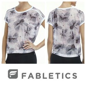 Fabletics floral gray pink Sicily mesh sports top